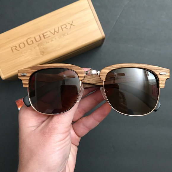 Rogue Wrx Accessories - Polarized wood frame glasses - Brand new in box